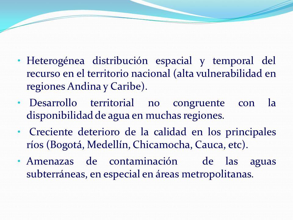 Heterogénea distribución espacial y temporal del recurso en el territorio nacional (alta vulnerabilidad en regiones Andina y Caribe).