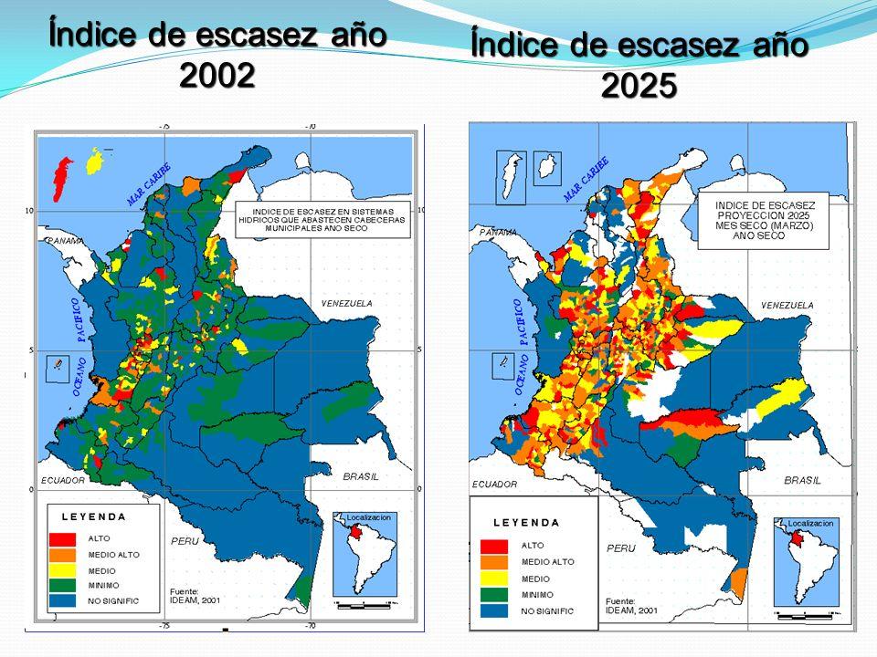 Índice de escasez año 2025 Índice de escasez año 2002