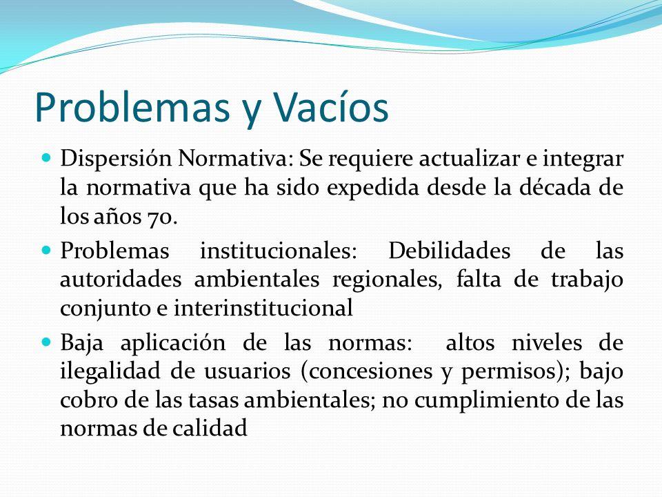 Problemas y VacíosDispersión Normativa: Se requiere actualizar e integrar la normativa que ha sido expedida desde la década de los años 70.