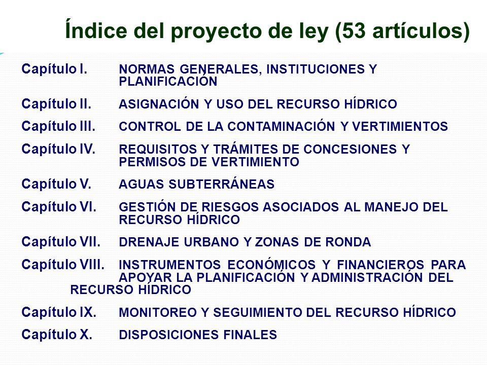 Índice del proyecto de ley (53 artículos)