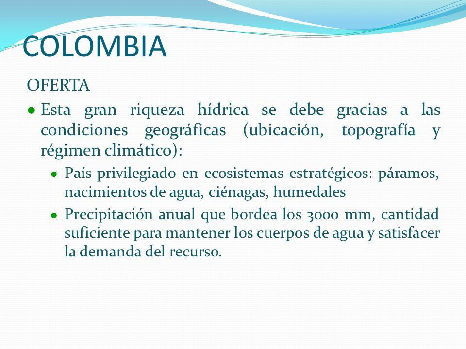 COLOMBIA OFERTA. Esta gran riqueza hídrica se debe gracias a las condiciones geográficas (ubicación, topografía y régimen climático):