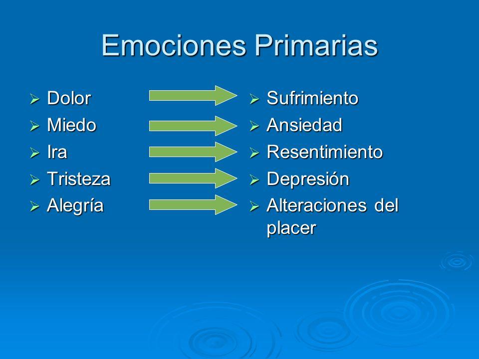 Emociones Primarias Dolor Miedo Ira Tristeza Alegría Sufrimiento