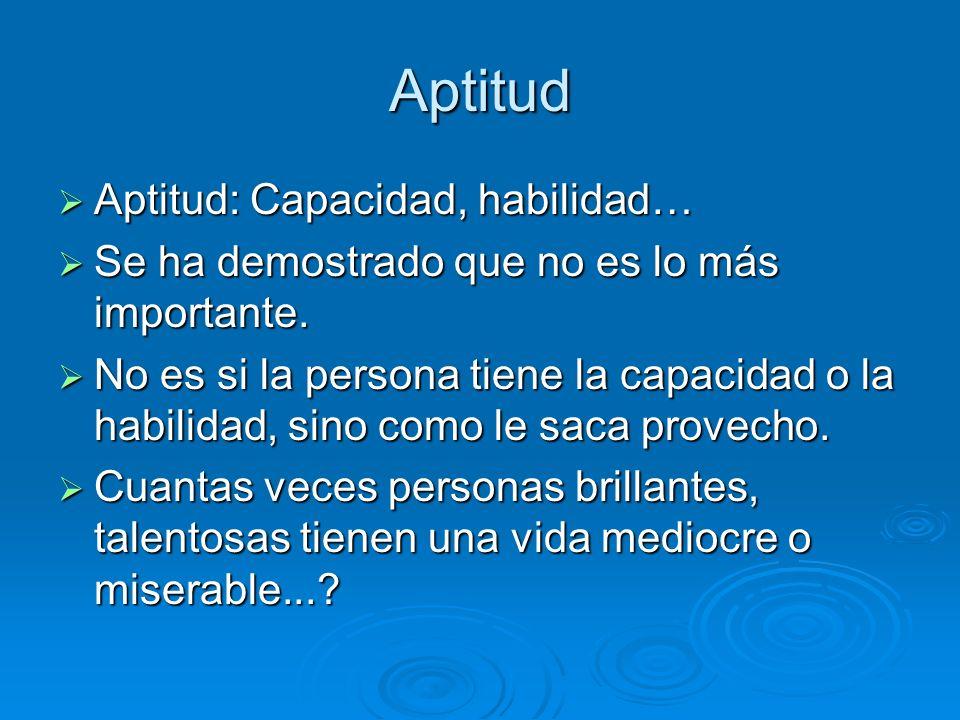Aptitud Aptitud: Capacidad, habilidad…