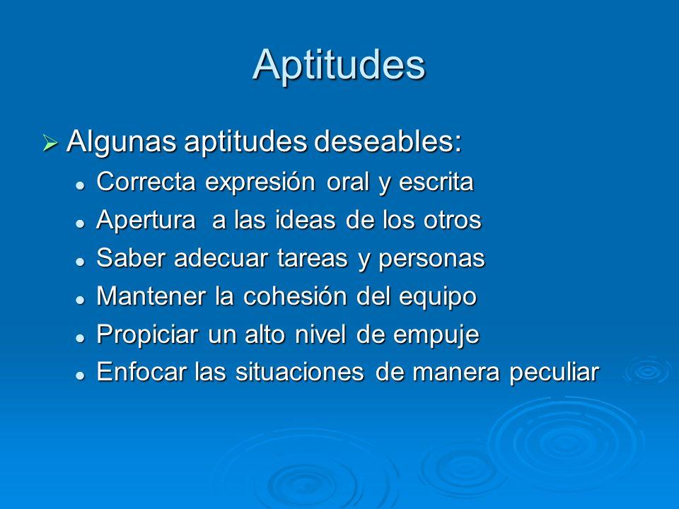 Aptitudes Algunas aptitudes deseables: