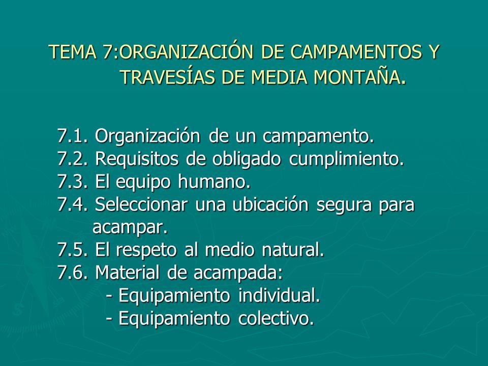 TEMA 7:ORGANIZACIÓN DE CAMPAMENTOS Y TRAVESÍAS DE MEDIA MONTAÑA.