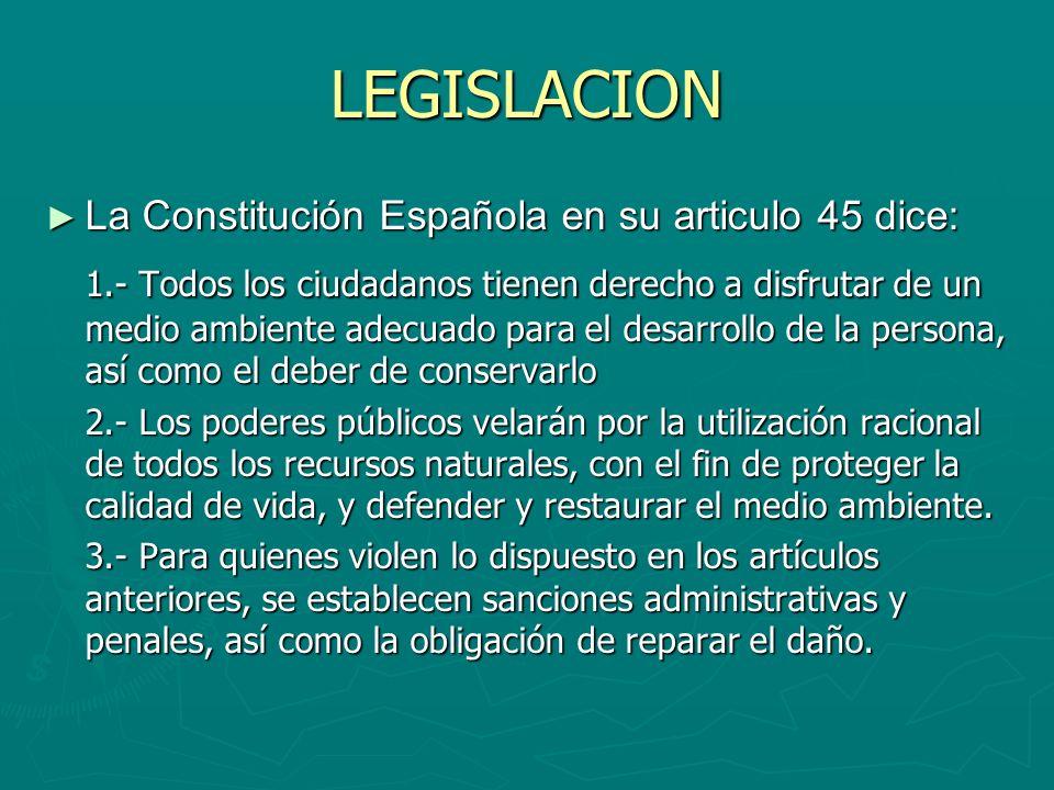 LEGISLACION La Constitución Española en su articulo 45 dice: