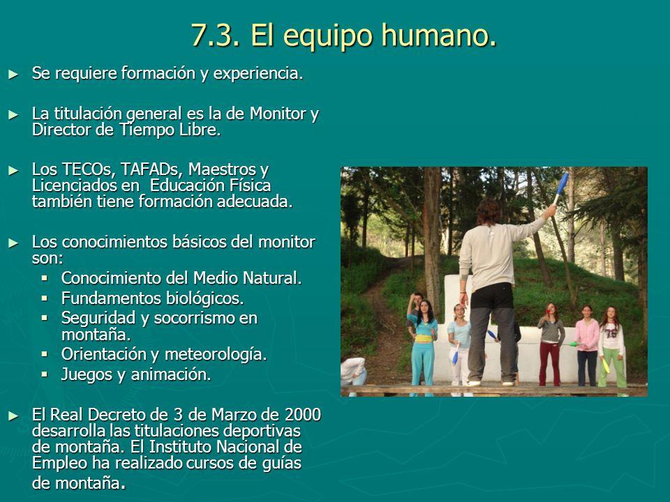 7.3. El equipo humano. Se requiere formación y experiencia.