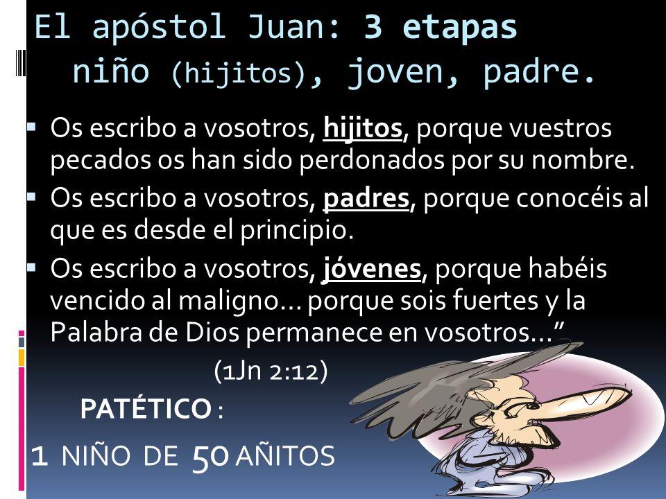 El apóstol Juan: 3 etapas niño (hijitos), joven, padre.