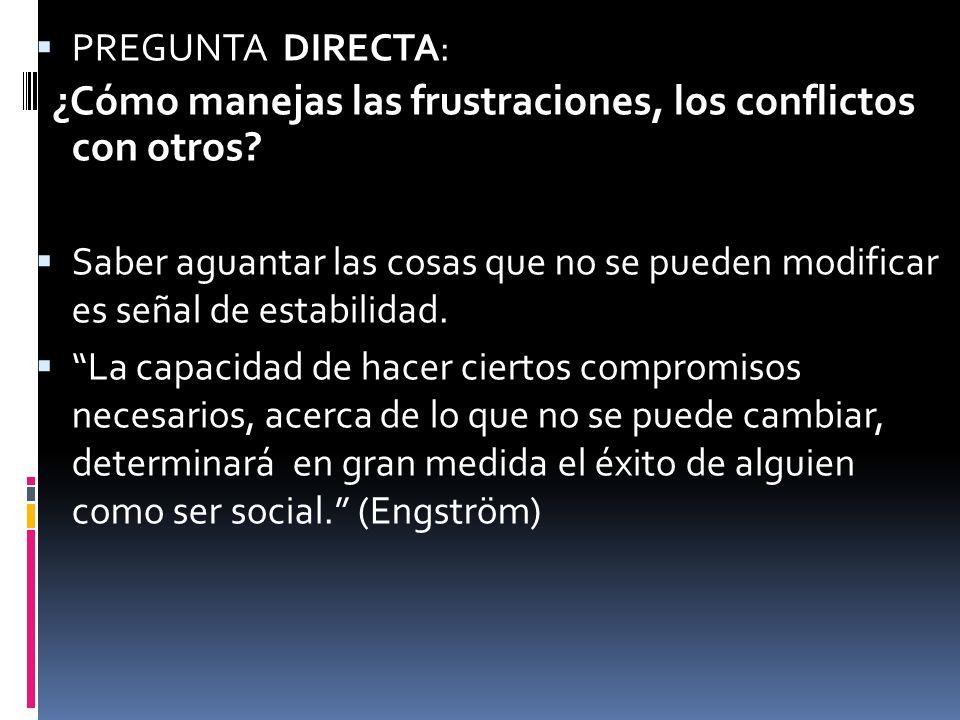 PREGUNTA DIRECTA: ¿Cómo manejas las frustraciones, los conflictos con otros