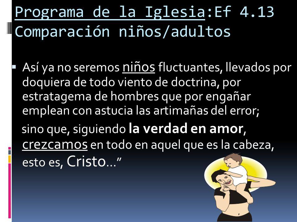 Programa de la Iglesia:Ef 4.13 Comparación niños/adultos