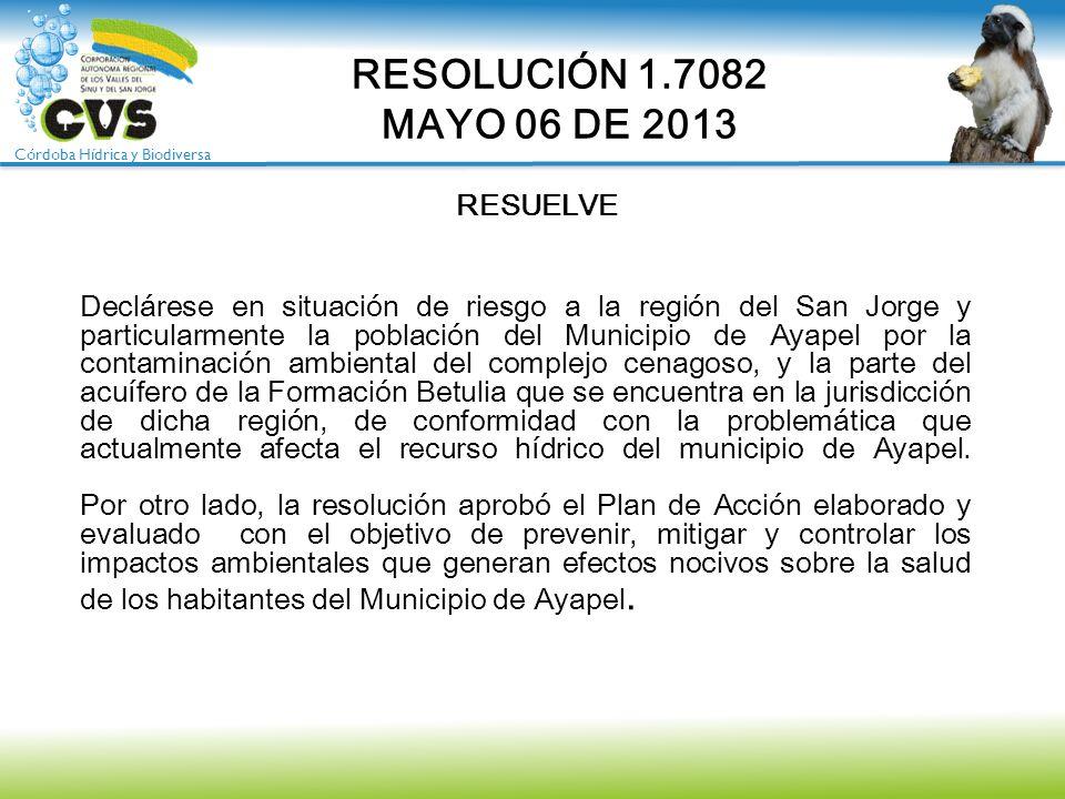 RESOLUCIÓN 1.7082 MAYO 06 DE 2013 RESUELVE
