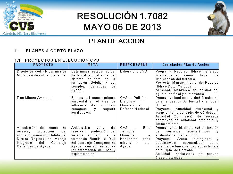 RESOLUCIÓN 1.7082 MAYO 06 DE 2013 PLAN DE ACCION