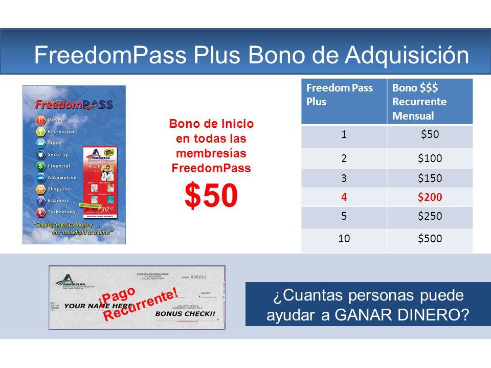 Bono de Inicio en todas las membresías FreedomPass