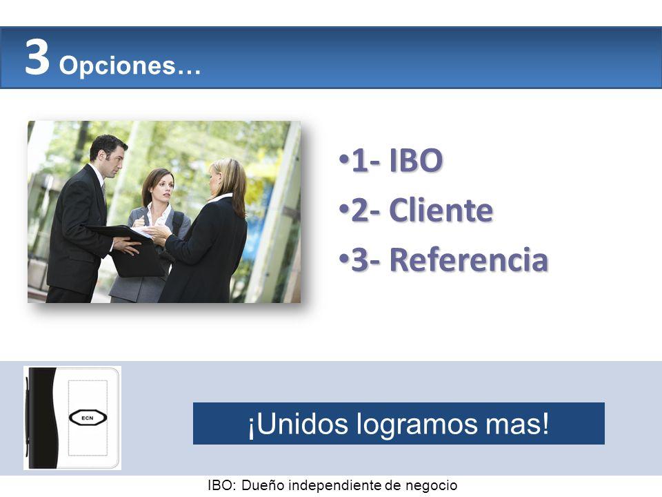 3 Opciones… The Company 1- IBO 2- Cliente 3- Referencia