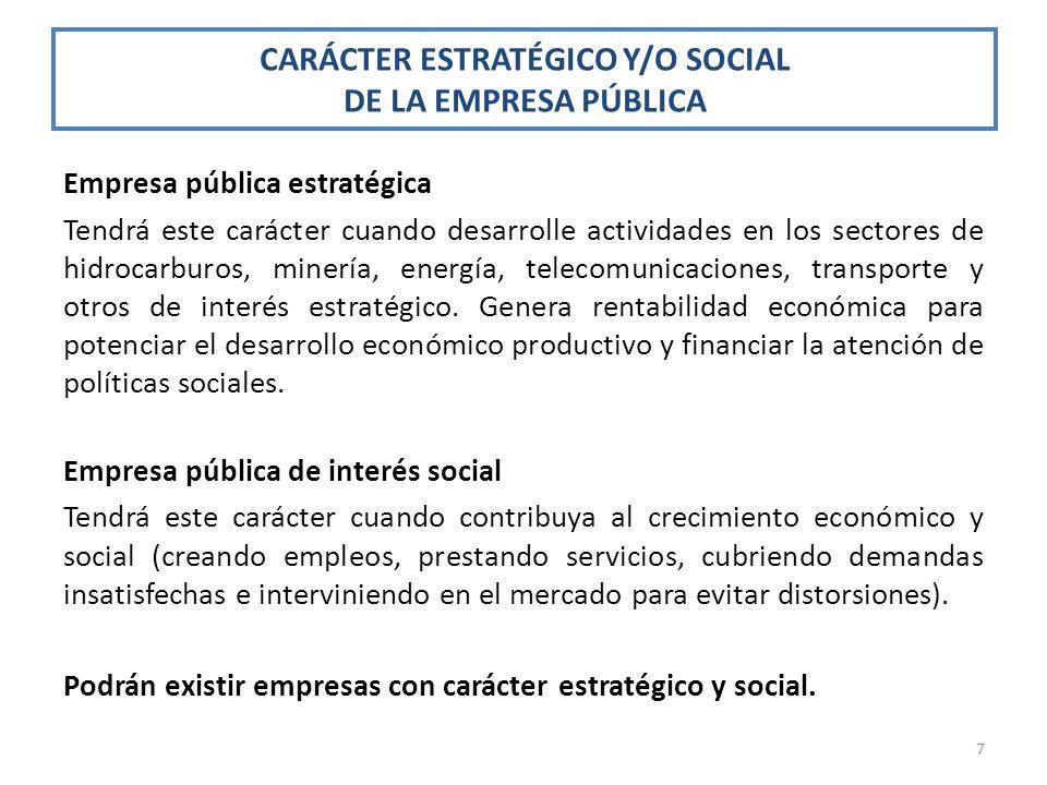 CARÁCTER ESTRATÉGICO Y/O SOCIAL DE LA EMPRESA PÚBLICA
