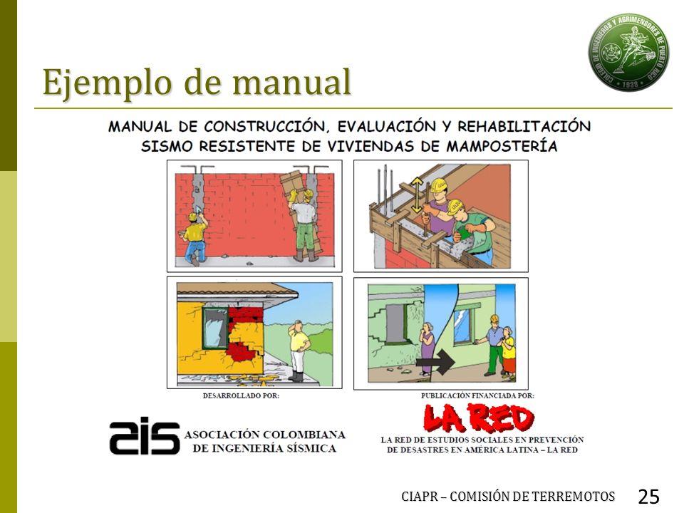 Ejemplo de manual CIAPR – COMISIÓN DE TERREMOTOS