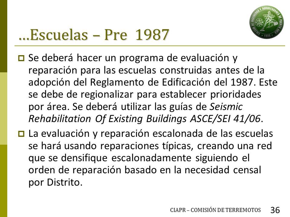 …Escuelas – Pre 1987