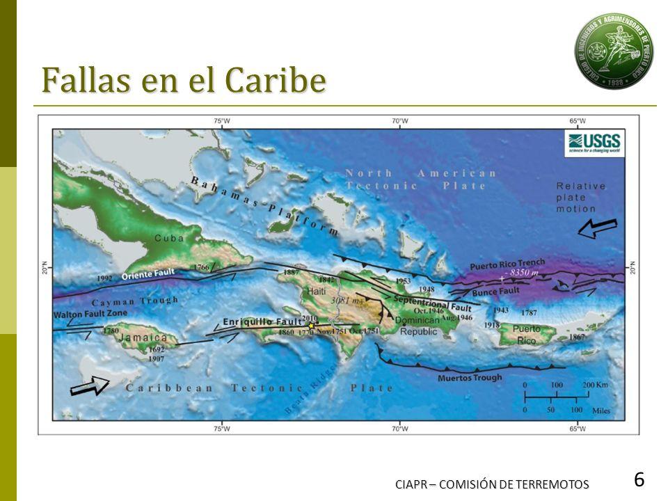 Fallas en el Caribe CIAPR – COMISIÓN DE TERREMOTOS