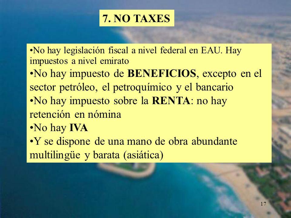 No hay impuesto sobre la RENTA: no hay retención en nómina No hay IVA