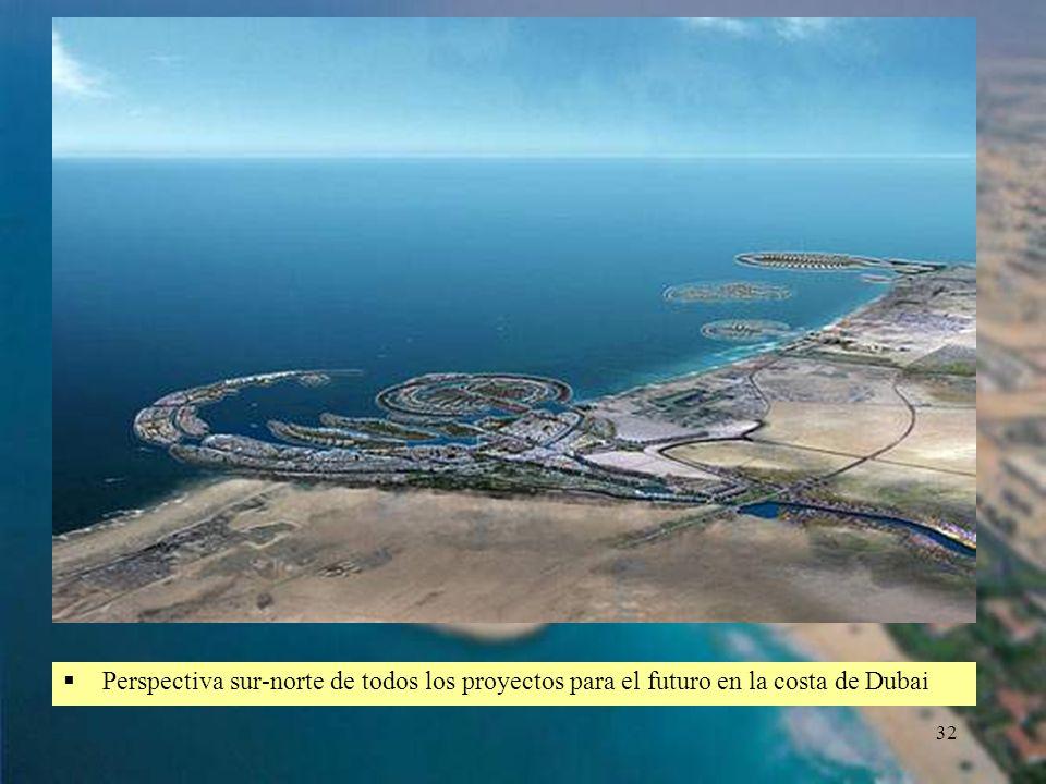 Perspectiva sur-norte de todos los proyectos para el futuro en la costa de Dubai