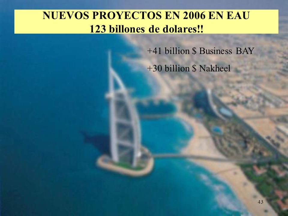 NUEVOS PROYECTOS EN 2006 EN EAU 123 billones de dolares!!