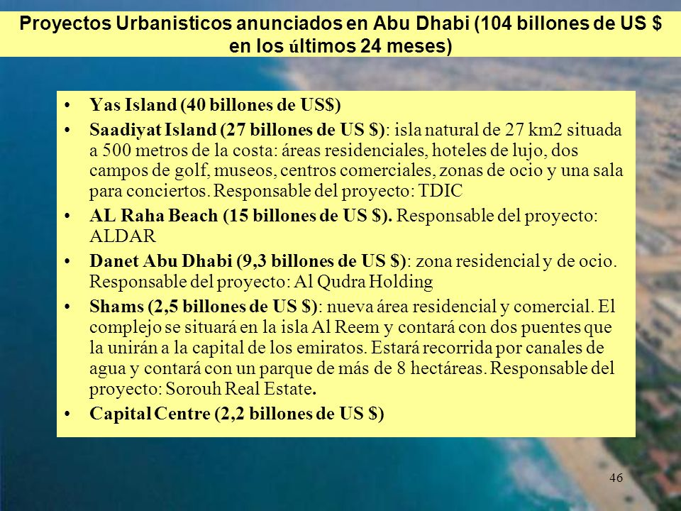 Proyectos Urbanisticos anunciados en Abu Dhabi (104 billones de US $ en los últimos 24 meses)