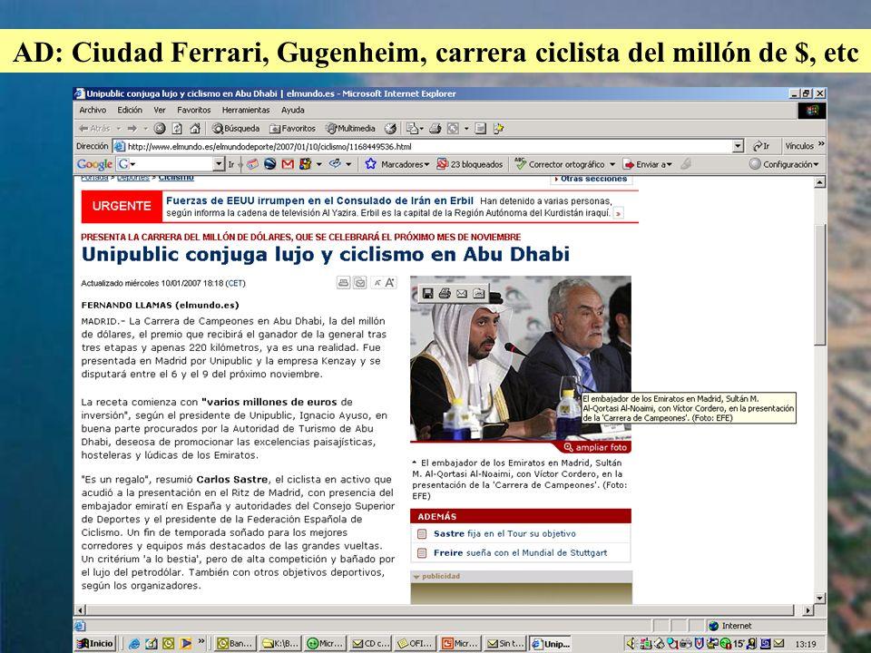AD: Ciudad Ferrari, Gugenheim, carrera ciclista del millón de $, etc