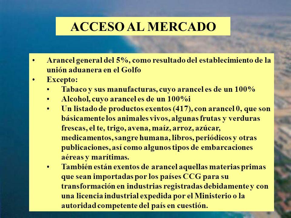 ACCESO AL MERCADO Arancel general del 5%, como resultado del establecimiento de la unión aduanera en el Golfo.