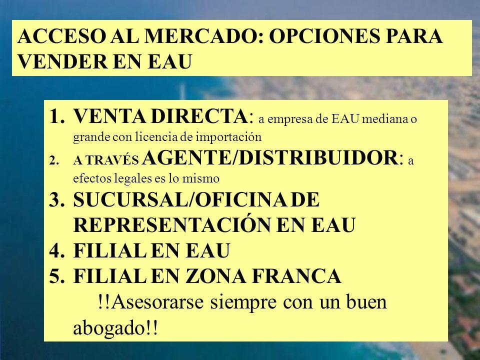 ACCESO AL MERCADO: OPCIONES PARA VENDER EN EAU