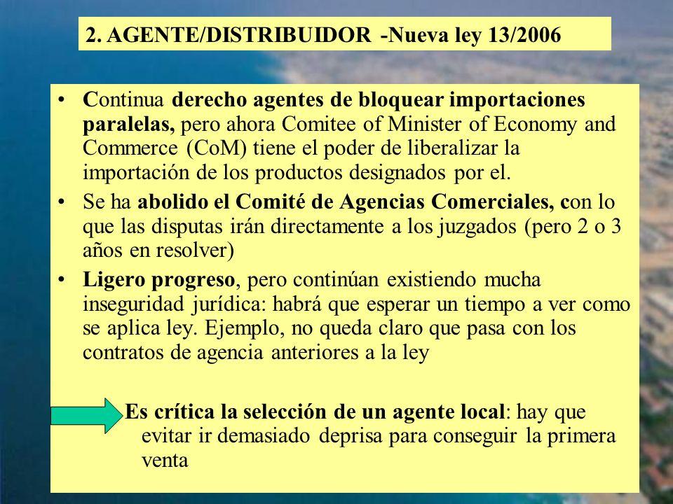 2. AGENTE/DISTRIBUIDOR -Nueva ley 13/2006