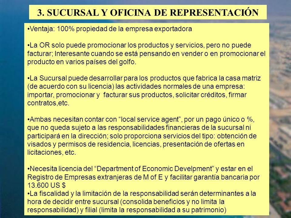 3. SUCURSAL Y OFICINA DE REPRESENTACIÓN