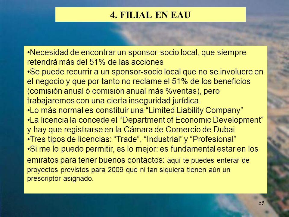 4. FILIAL EN EAU Necesidad de encontrar un sponsor-socio local, que siempre retendrá más del 51% de las acciones.