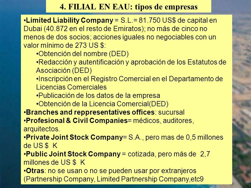 4. FILIAL EN EAU: tipos de empresas