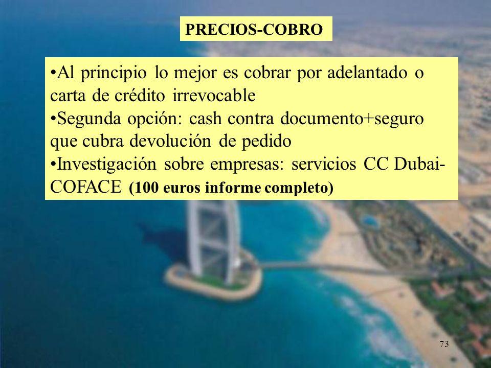 PRECIOS-COBRO Al principio lo mejor es cobrar por adelantado o carta de crédito irrevocable.