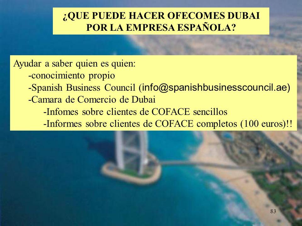 ¿QUE PUEDE HACER OFECOMES DUBAI POR LA EMPRESA ESPAÑOLA