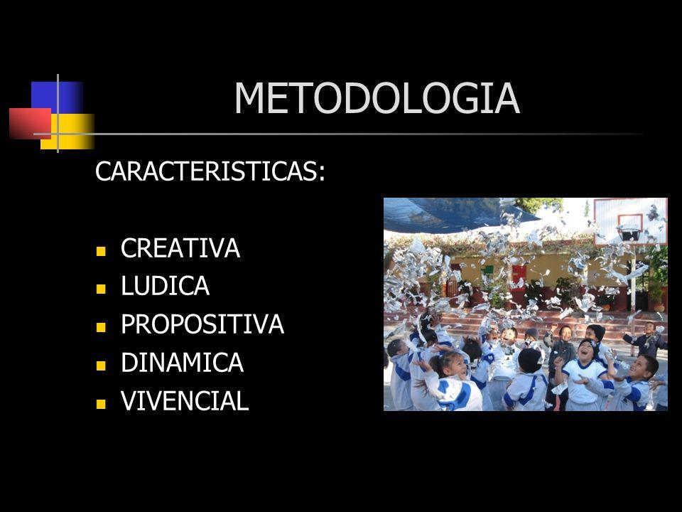 METODOLOGIA CARACTERISTICAS: CREATIVA LUDICA PROPOSITIVA DINAMICA