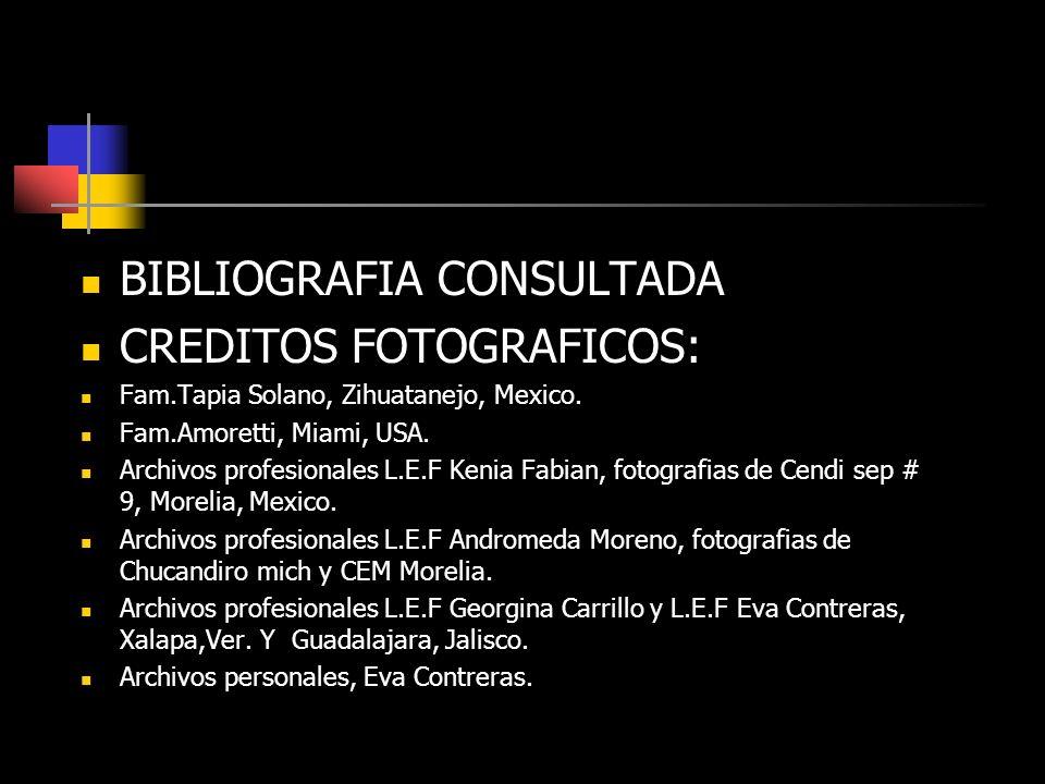 BIBLIOGRAFIA CONSULTADA CREDITOS FOTOGRAFICOS: