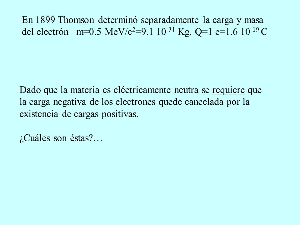 En 1899 Thomson determinó separadamente la carga y masa del electrón m=0.5 MeV/c2=9.1 10-31 Kg, Q=1 e=1.6 10-19 C