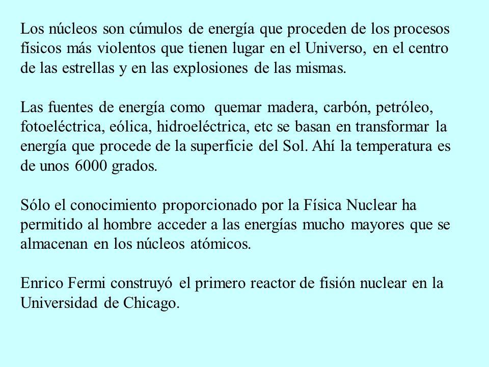Los núcleos son cúmulos de energía que proceden de los procesos físicos más violentos que tienen lugar en el Universo, en el centro de las estrellas y en las explosiones de las mismas.