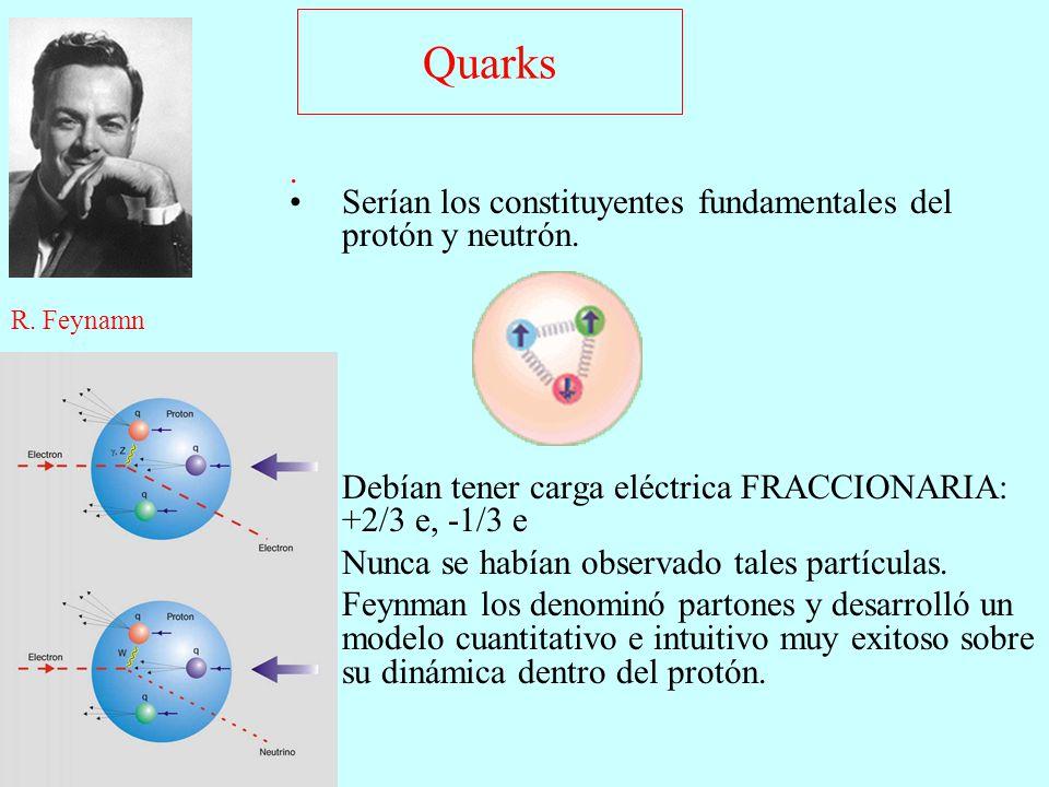 Quarks . Serían los constituyentes fundamentales del protón y neutrón. Debían tener carga eléctrica FRACCIONARIA: +2/3 e, -1/3 e.