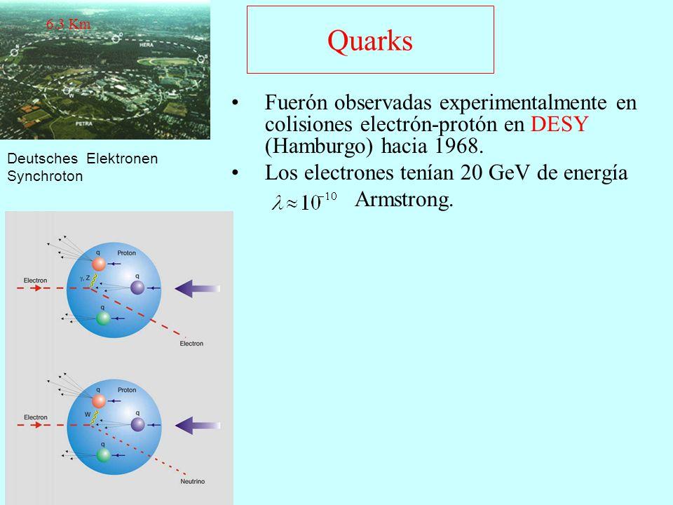 6.3 Km Quarks. Fuerón observadas experimentalmente en colisiones electrón-protón en DESY (Hamburgo) hacia 1968.