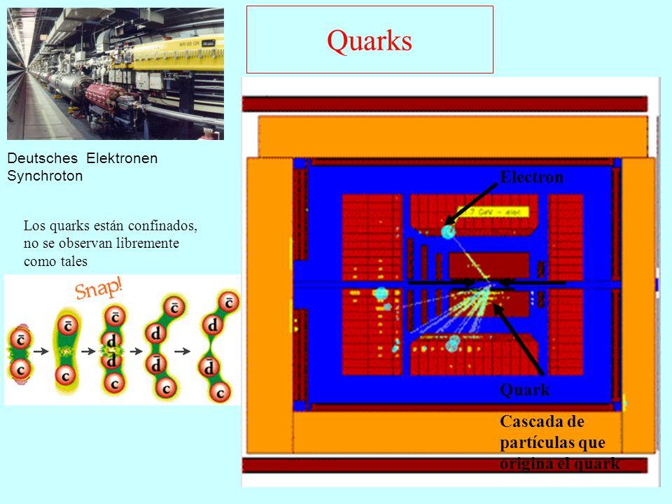 Quarks Electron Quark Cascada de partículas que origina el quark