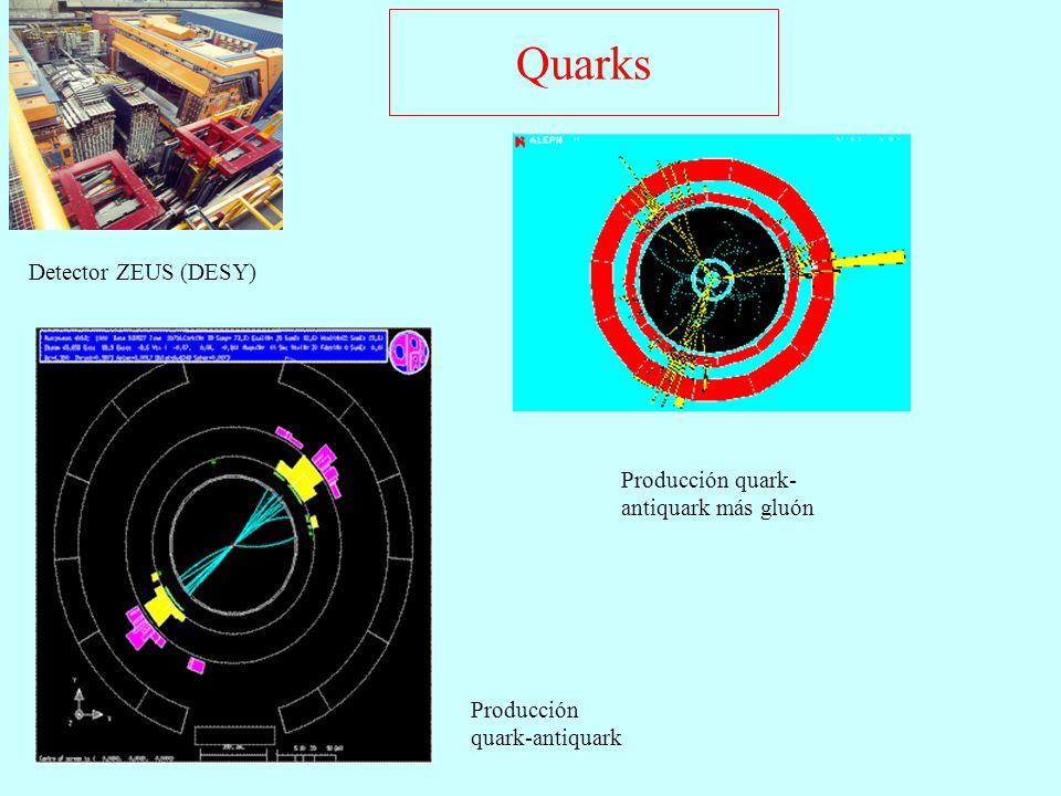 Quarks Detector ZEUS (DESY) Producción quark-antiquark más gluón