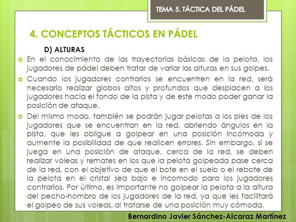 4. CONCEPTOS TÁCTICOS EN PÁDEL