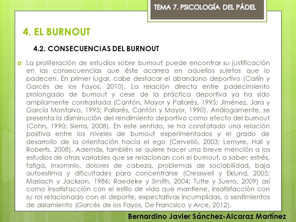 4. EL BURNOUT 4.2. CONSECUENCIAS DEL BURNOUT