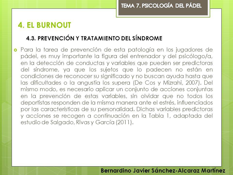 4. EL BURNOUT 4.3. PREVENCIÓN Y TRATAMIENTO DEL SÍNDROME