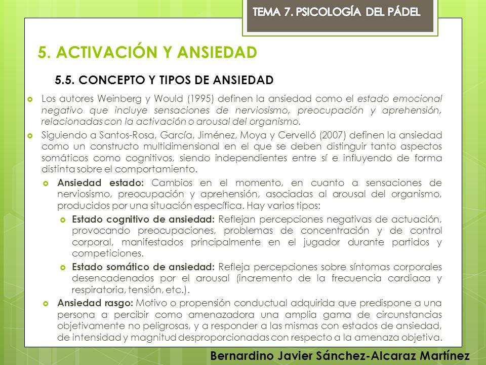 5. ACTIVACIÓN Y ANSIEDAD 5.5. CONCEPTO Y TIPOS DE ANSIEDAD