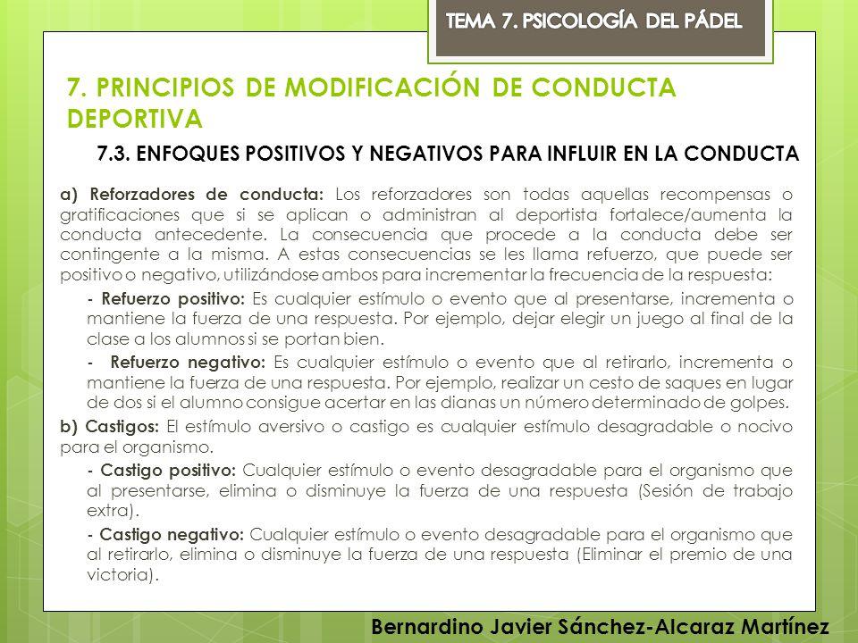 7. PRINCIPIOS DE MODIFICACIÓN DE CONDUCTA DEPORTIVA
