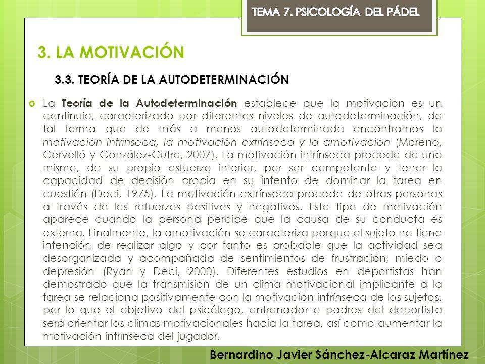 3. LA MOTIVACIÓN 3.3. TEORÍA DE LA AUTODETERMINACIÓN