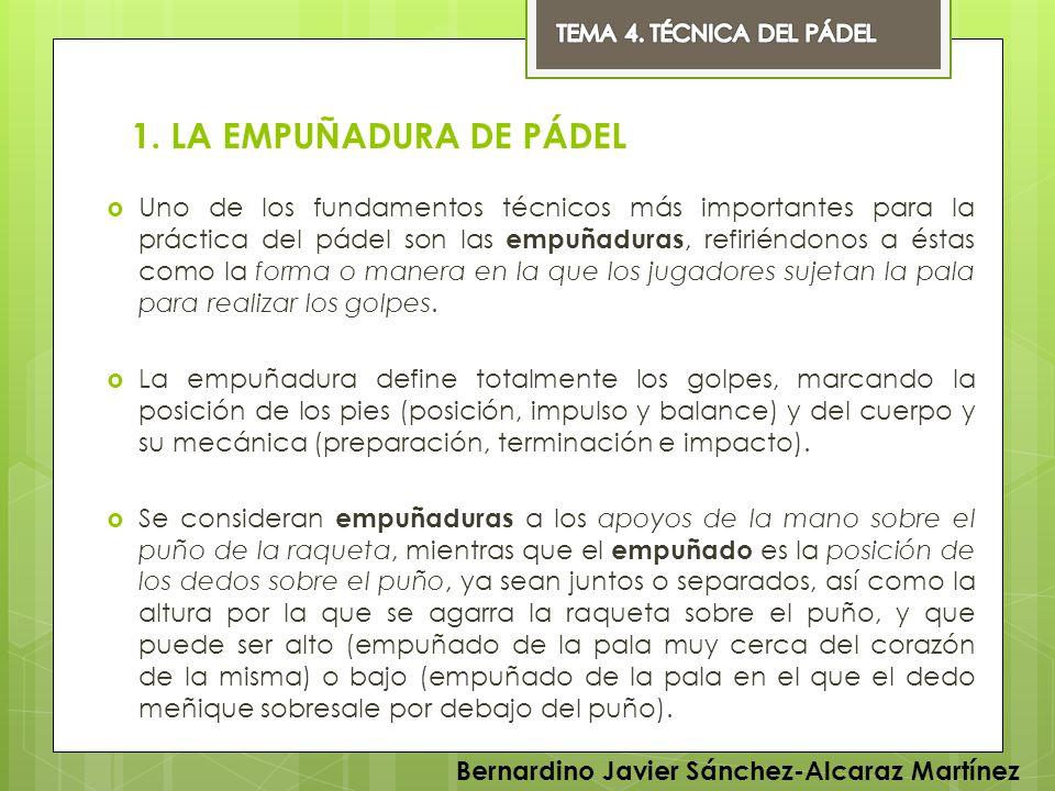 TEMA 4. TÉCNICA DEL PÁDEL 1. LA EMPUÑADURA DE PÁDEL.